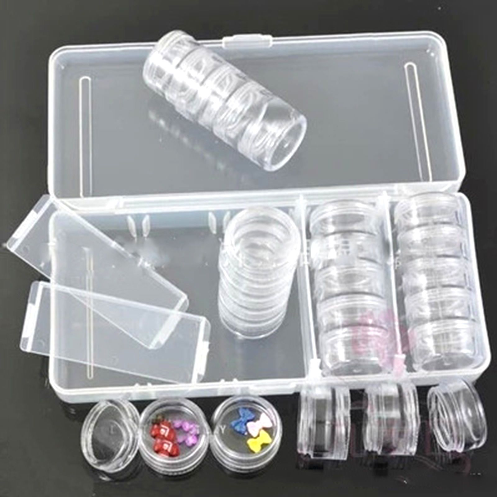 Empty Nail Art Storage Box Case 25 pots Set For Rhinestone Glitter ...